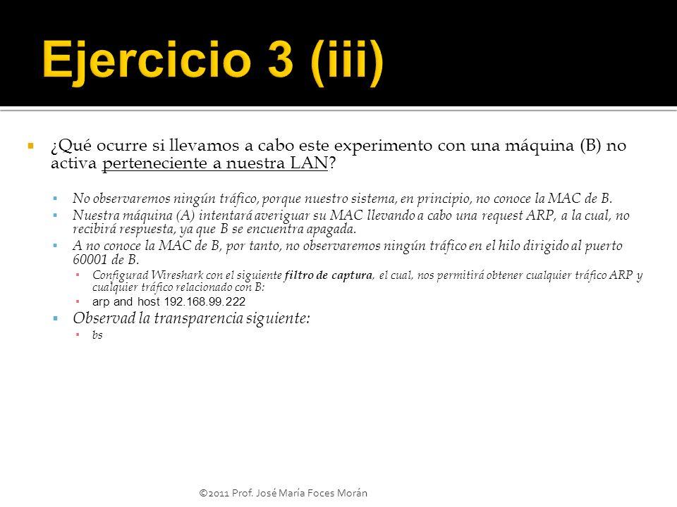 ©2011 Prof. José María Foces Morán ¿Qué ocurre si llevamos a cabo este experimento con una máquina (B) no activa perteneciente a nuestra LAN? No obser
