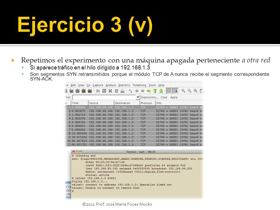 ©2011 Prof. José María Foces Morán Repetimos el experimento con una máquina apagada perteneciente a otra red Si aparece tráfico en el hilo dirigido a