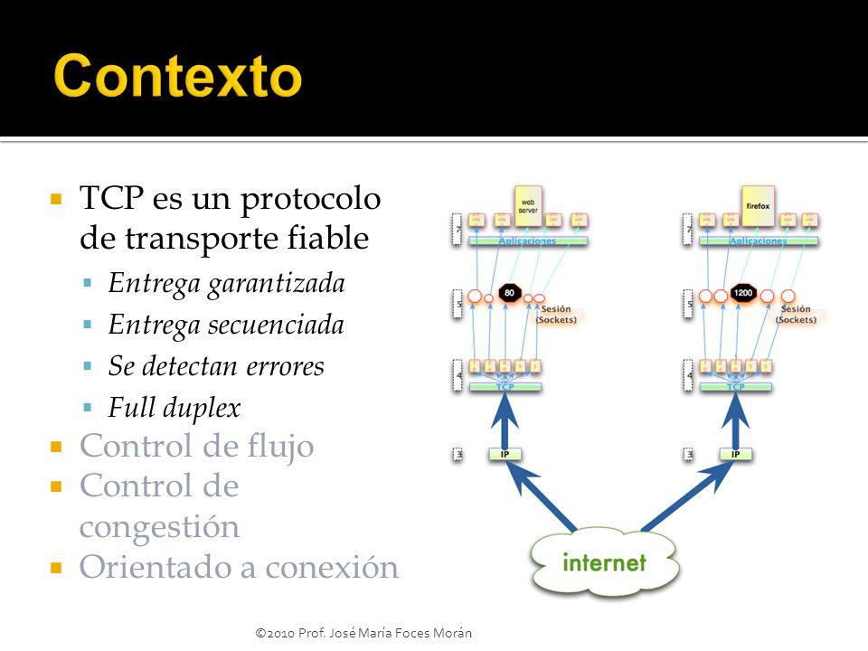 ©2010 Prof. José María Foces Morán TCP es un protocolo de transporte fiable Entrega garantizada Entrega secuenciada Se detectan errores Full duplex Co