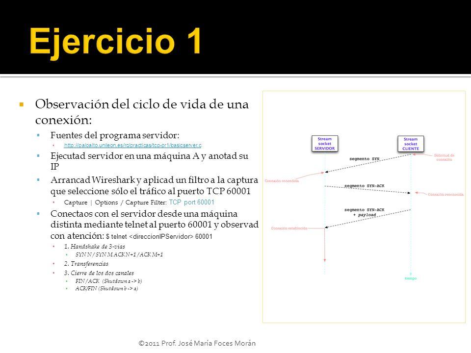©2011 Prof. José María Foces Morán Observación del ciclo de vida de una conexión: Fuentes del programa servidor: http://paloalto.unileon.es/rc/practic