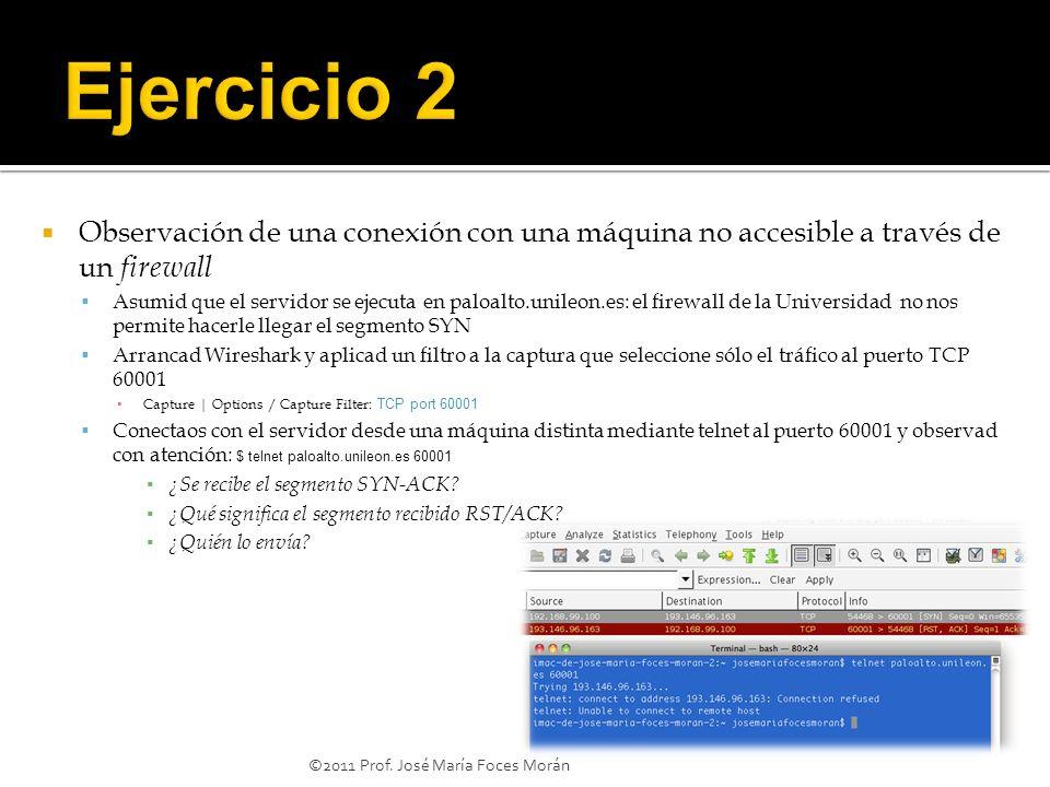 ©2011 Prof. José María Foces Morán Observación de una conexión con una máquina no accesible a través de un firewall Asumid que el servidor se ejecuta