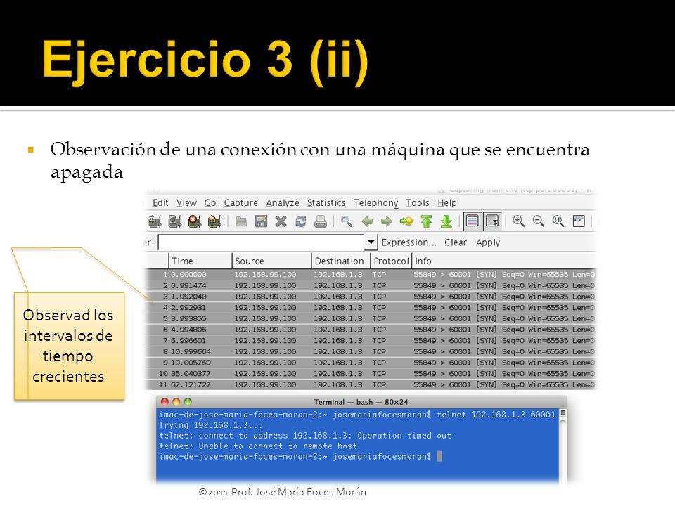 ©2011 Prof. José María Foces Morán Observación de una conexión con una máquina que se encuentra apagada Observad los intervalos de tiempo crecientes