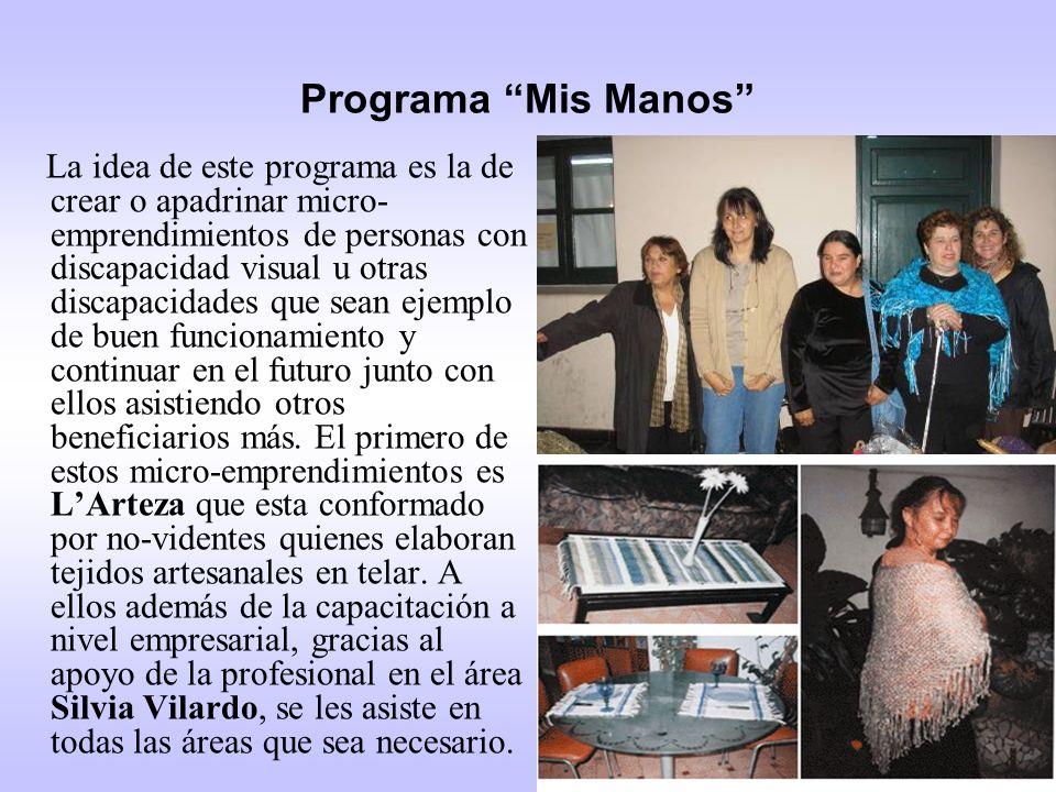 Programa Mis Manos La idea de este programa es la de crear o apadrinar micro- emprendimientos de personas con discapacidad visual u otras discapacidad