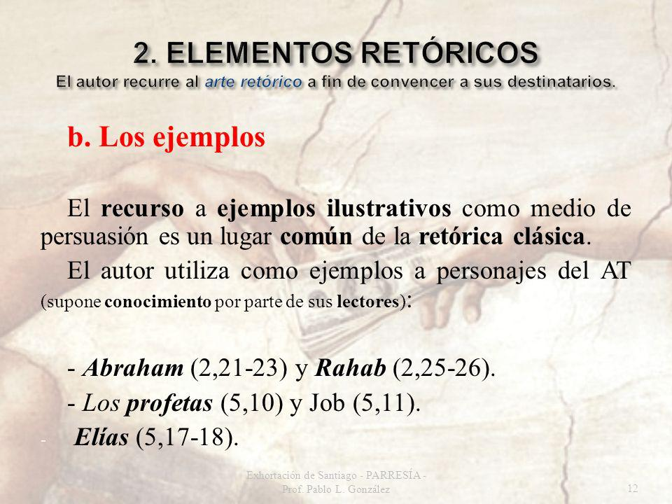 b. Los ejemplos El recurso a ejemplos ilustrativos como medio de persuasión es un lugar común de la retórica clásica. El autor utiliza como ejemplos a
