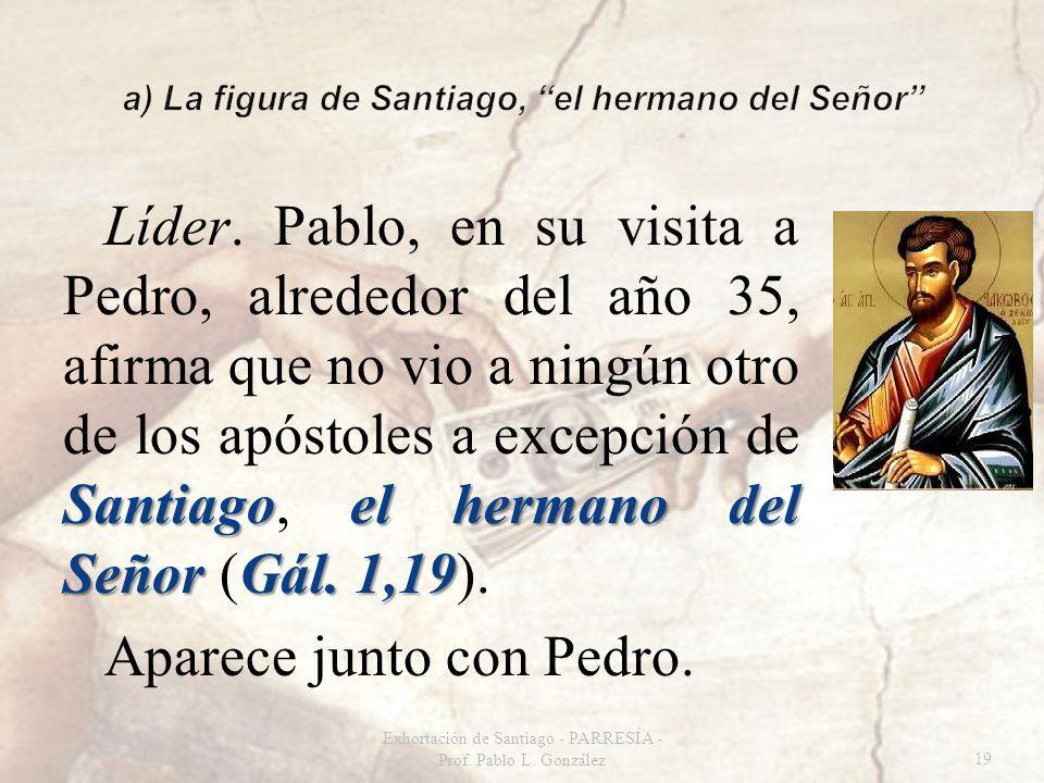Santiagoel hermano del Señor Gál. 1,19 Líder. Pablo, en su visita a Pedro, alrededor del año 35, afirma que no vio a ningún otro de los apóstoles a ex