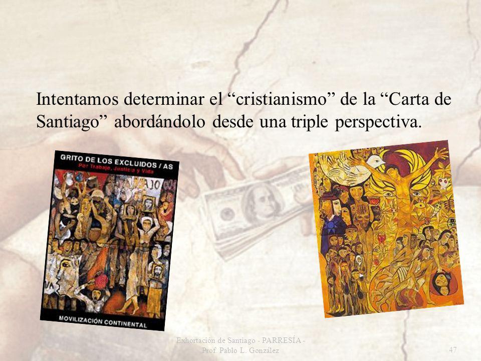 Intentamos determinar el cristianismo de la Carta de Santiago abordándolo desde una triple perspectiva. Exhortación de Santiago - PARRESÍA - Prof. Pab
