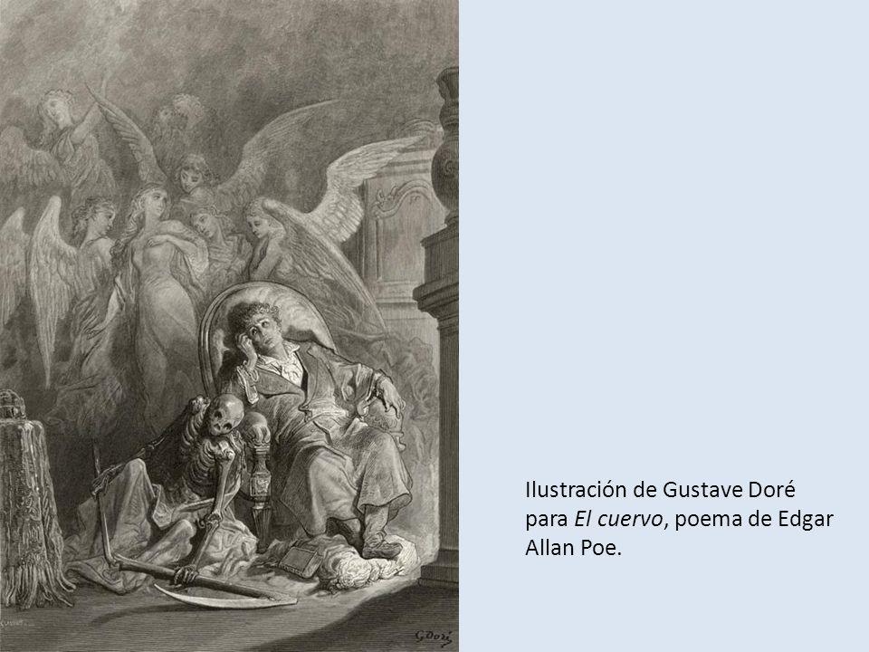 Ilustración de Gustave Doré para El cuervo, poema de Edgar Allan Poe.