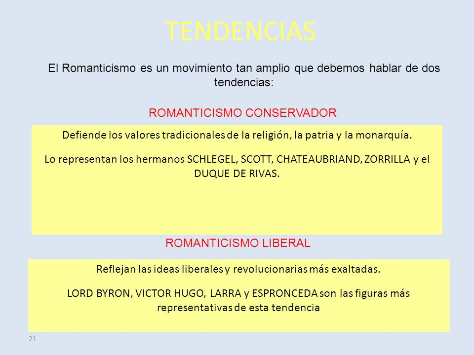 21 TENDENCIAS El Romanticismo es un movimiento tan amplio que debemos hablar de dos tendencias: ROMANTICISMO CONSERVADOR ROMANTICISMO LIBERAL Defiende los valores tradicionales de la religión, la patria y la monarquía.