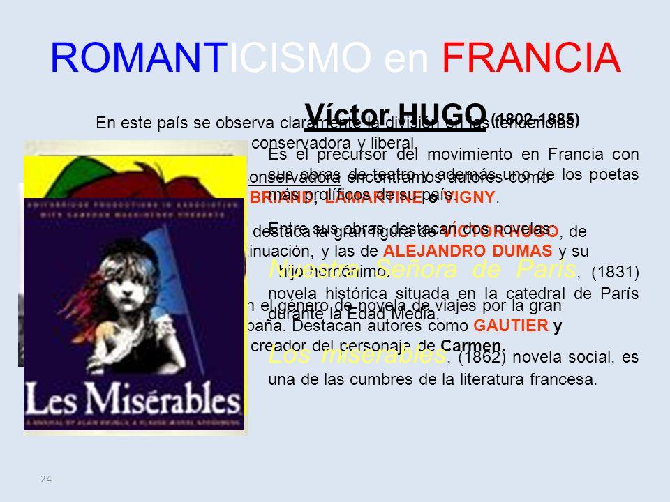 24 ROMANTICISMO en FRANCIA En este país se observa claramente la división en las tendencias conservadora y liberal.