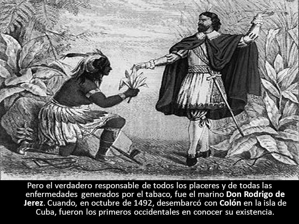 Pero el verdadero responsable de todos los placeres y de todas las enfermedades generados por el tabaco, fue el marino Don Rodrigo de Jerez. Cuando, e