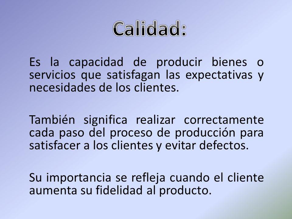 Es la capacidad de producir bienes o servicios que satisfagan las expectativas y necesidades de los clientes. También significa realizar correctamente