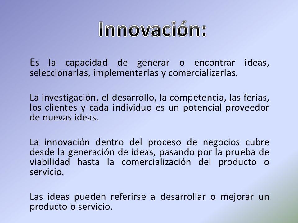E s la capacidad de generar o encontrar ideas, seleccionarlas, implementarlas y comercializarlas. La investigación, el desarrollo, la competencia, las