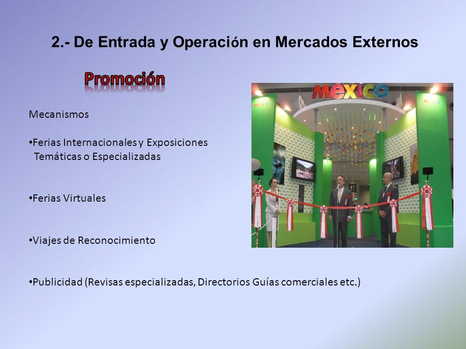 2.- De Entrada y Operaci ó n en Mercados Externos Mecanismos Ferias Internacionales y Exposiciones Temáticas o Especializadas Ferias Virtuales Viajes