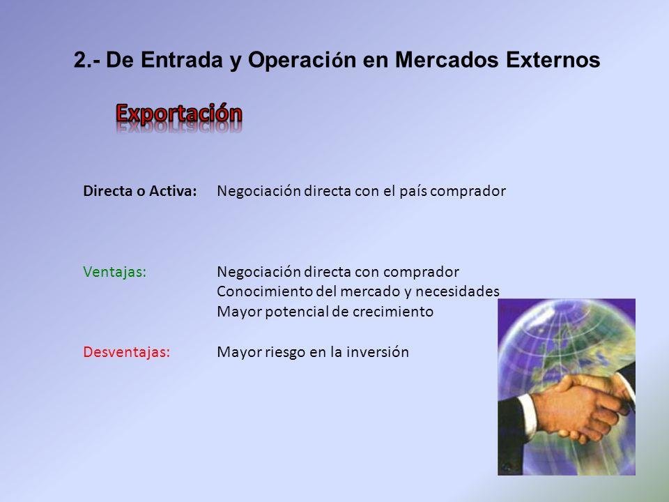 2.- De Entrada y Operaci ó n en Mercados Externos Directa o Activa: Negociación directa con el país comprador Ventajas: Negociación directa con compra