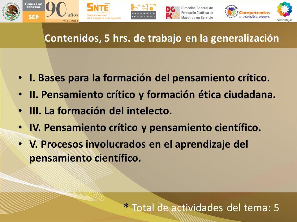 Contenidos, 5 hrs. de trabajo en la generalización I. Bases para la formación del pensamiento crítico. II. Pensamiento crítico y formación ética ciuda