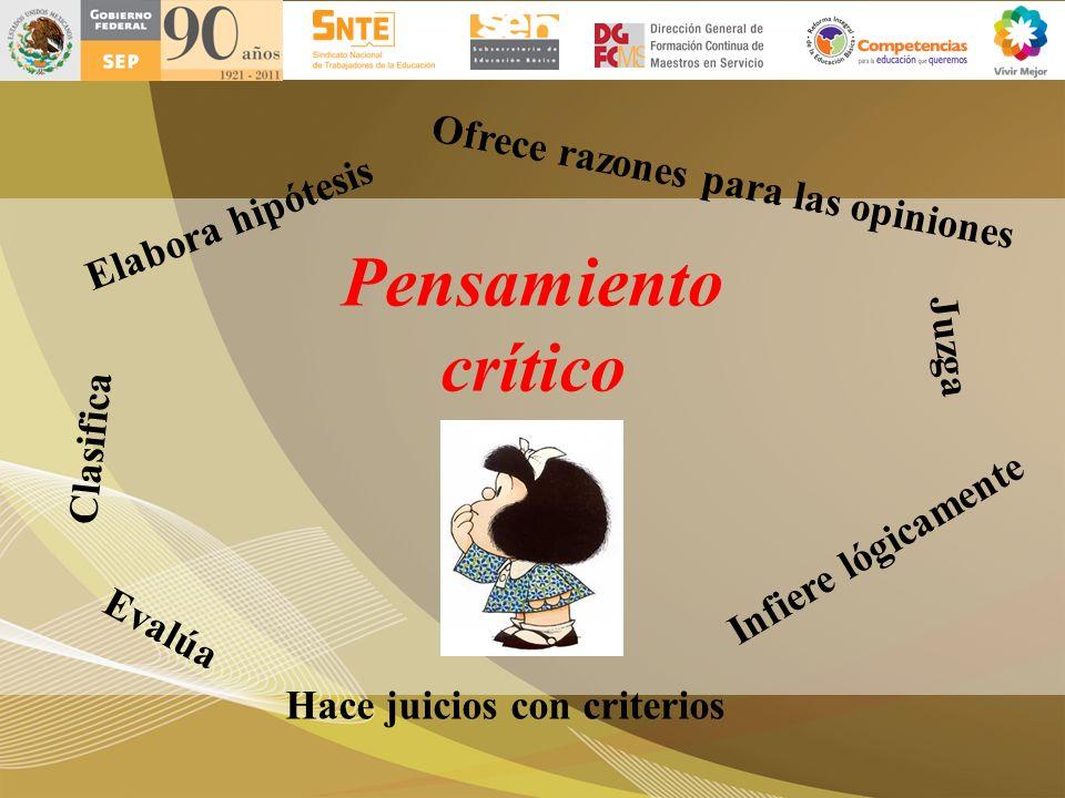 Pensamiento crítico Juzga Evalúa Clasifica Infiere lógicamente Elabora hipótesis Ofrece razones para las opiniones Hace juicios con criterios