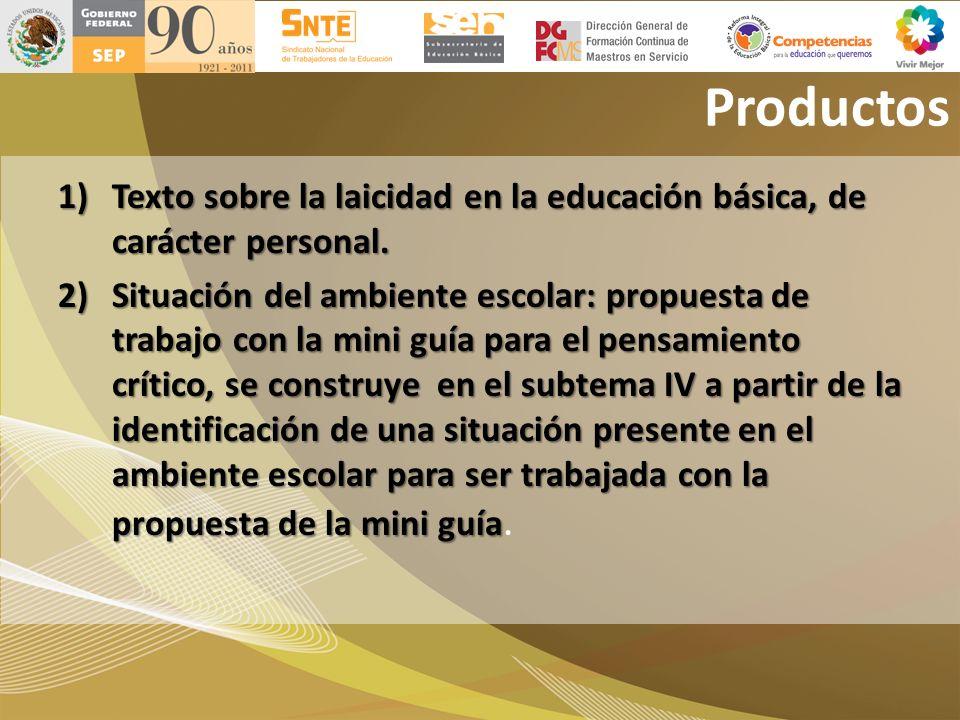 Productos 1)Texto sobre la laicidad en la educación básica, de carácter personal. 2)Situación del ambiente escolar: propuesta de trabajo con la mini g