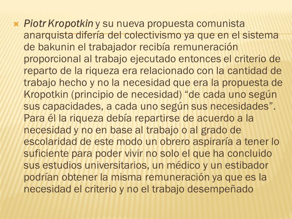 Piotr Kropotkin y su nueva propuesta comunista anarquista difería del colectivismo ya que en el sistema de bakunin el trabajador recibía remuneración