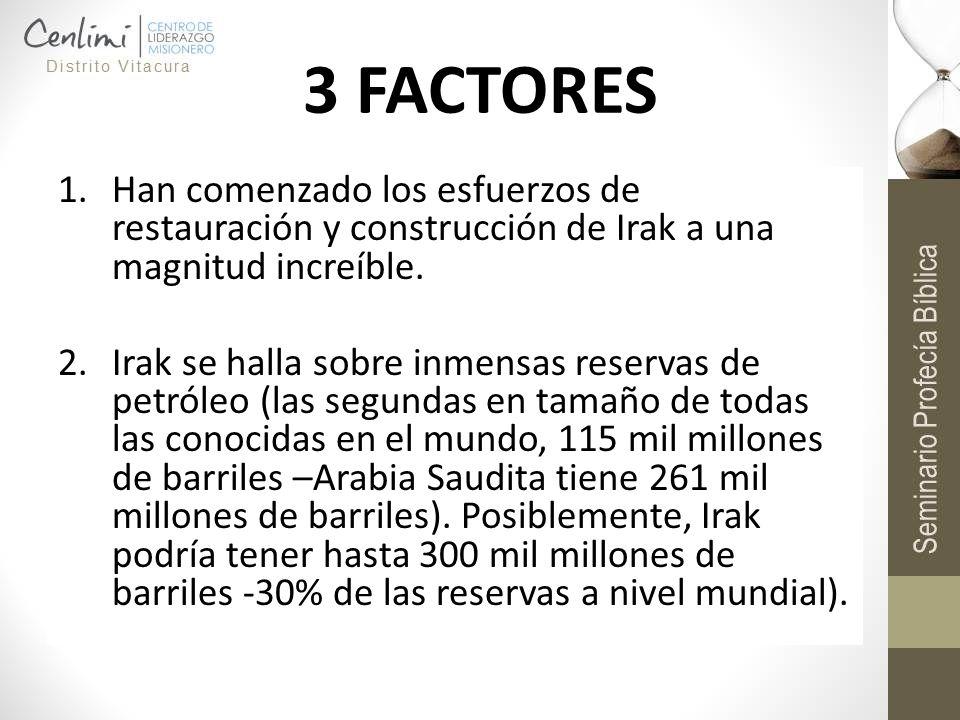 3 FACTORES 1.Han comenzado los esfuerzos de restauración y construcción de Irak a una magnitud increíble. 2.Irak se halla sobre inmensas reservas de p
