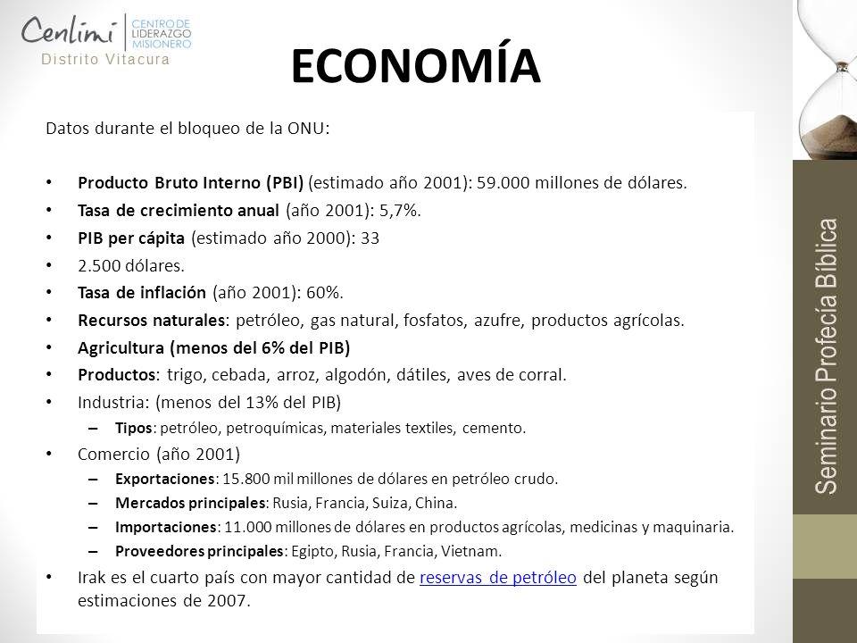 ECONOMÍA Datos durante el bloqueo de la ONU: Producto Bruto Interno (PBI) (estimado año 2001): 59.000 millones de dólares. Tasa de crecimiento anual (