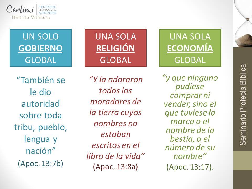 También se le dio autoridad sobre toda tribu, pueblo, lengua y nación (Apoc. 13:7b) UN SOLO GOBIERNO GLOBAL UNA SOLA RELIGIÓN GLOBAL UNA SOLA ECONOMÍA