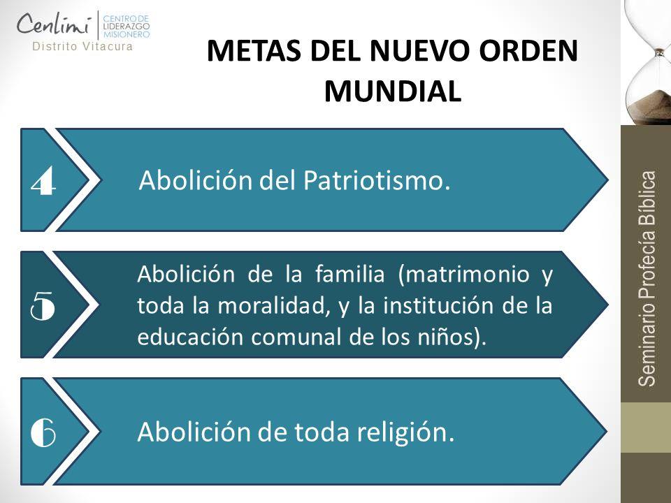 4 Abolición del Patriotismo. 5 Abolición de la familia (matrimonio y toda la moralidad, y la institución de la educación comunal de los niños). 6 Abol