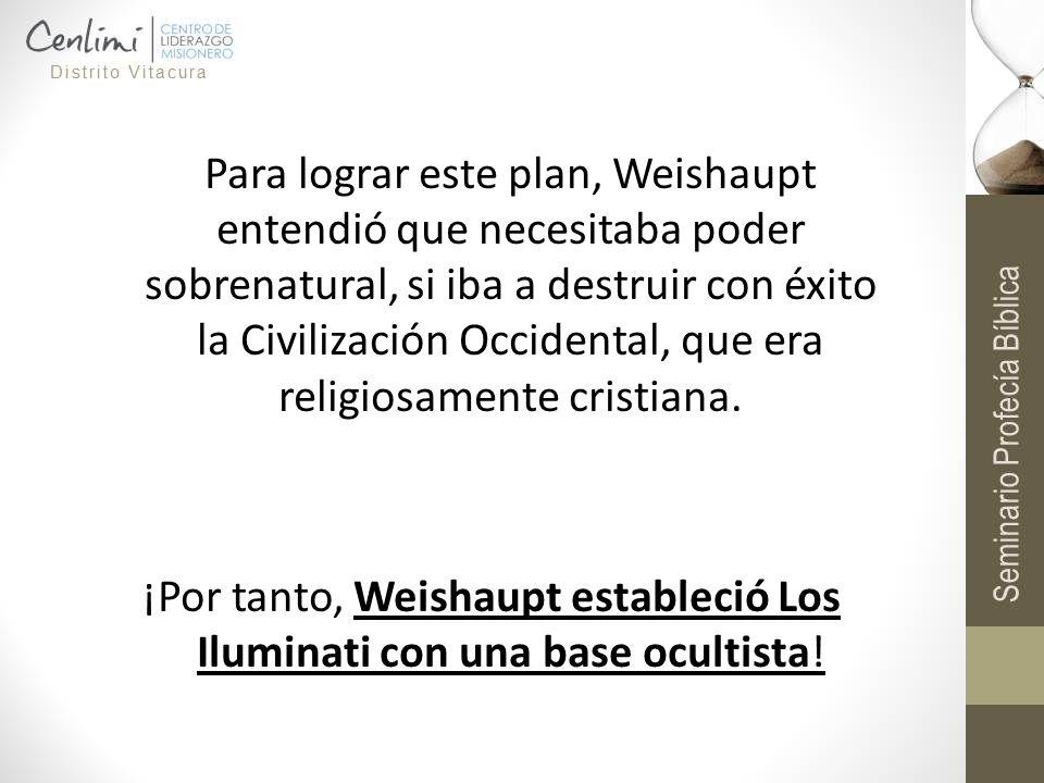 Para lograr este plan, Weishaupt entendió que necesitaba poder sobrenatural, si iba a destruir con éxito la Civilización Occidental, que era religiosa