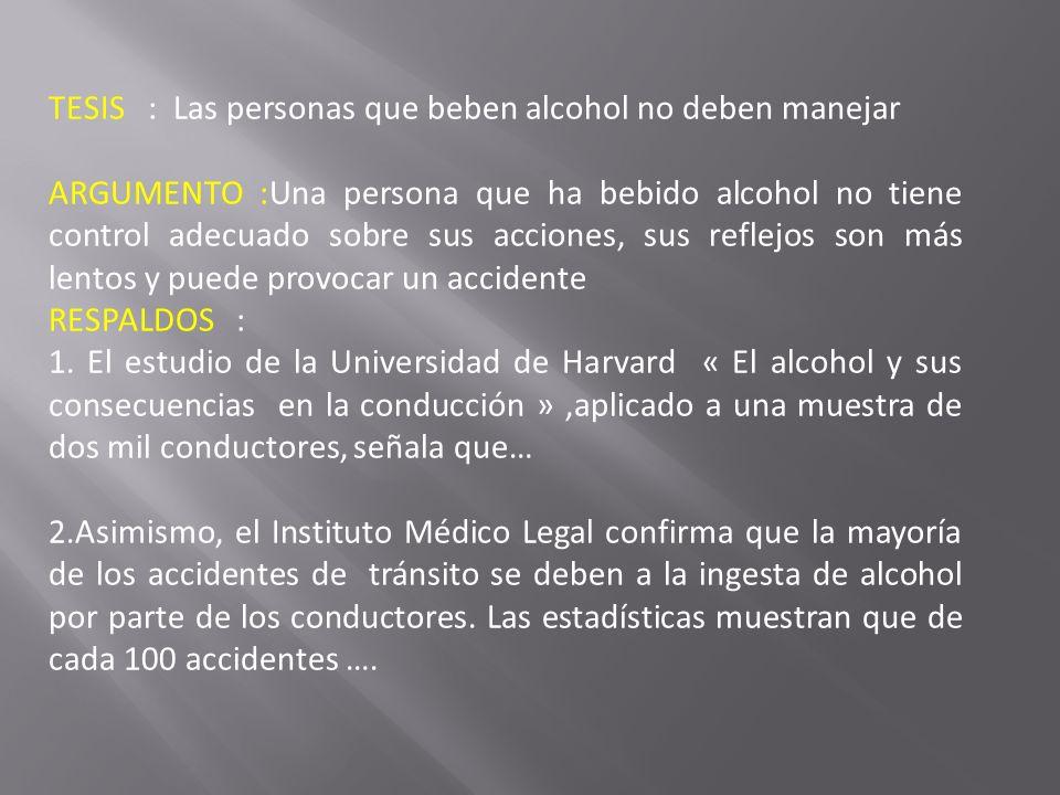 TESIS : Las personas que beben alcohol no deben manejar ARGUMENTO :Una persona que ha bebido alcohol no tiene control adecuado sobre sus acciones, sus