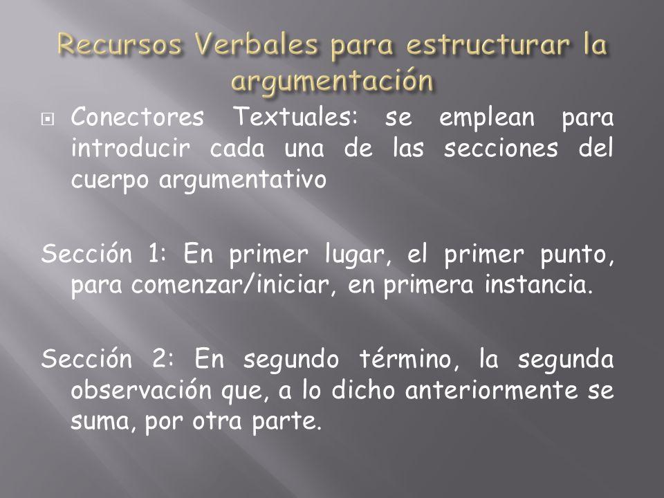 Conectores Textuales: se emplean para introducir cada una de las secciones del cuerpo argumentativo Sección 1: En primer lugar, el primer punto, para