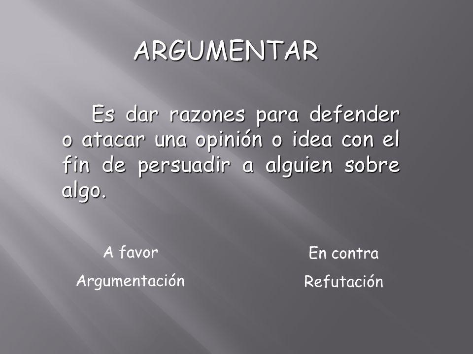 ARGUMENTAR ARGUMENTAR Es dar razones para defender o atacar una opinión o idea con el fin de persuadir a alguien sobre algo. A favor Argumentación En