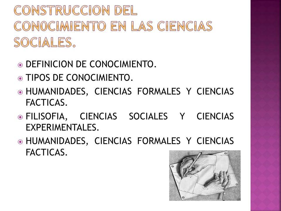 DEFINICION DE CONOCIMIENTO. TIPOS DE CONOCIMIENTO. HUMANIDADES, CIENCIAS FORMALES Y CIENCIAS FACTICAS. FILISOFIA, CIENCIAS SOCIALES Y CIENCIAS EXPERIM