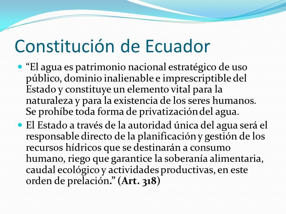 Constitución de Ecuador El agua es patrimonio nacional estratégico de uso público, dominio inalienable e imprescriptible del Estado y constituye un el