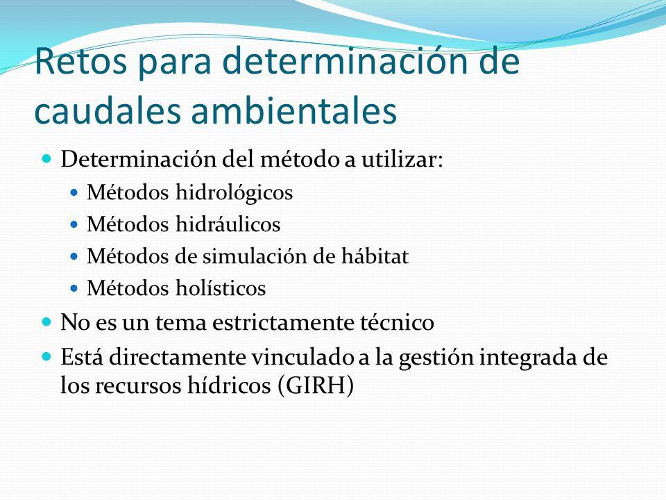 Retos para determinación de caudales ambientales Determinación del método a utilizar: Métodos hidrológicos Métodos hidráulicos Métodos de simulación d