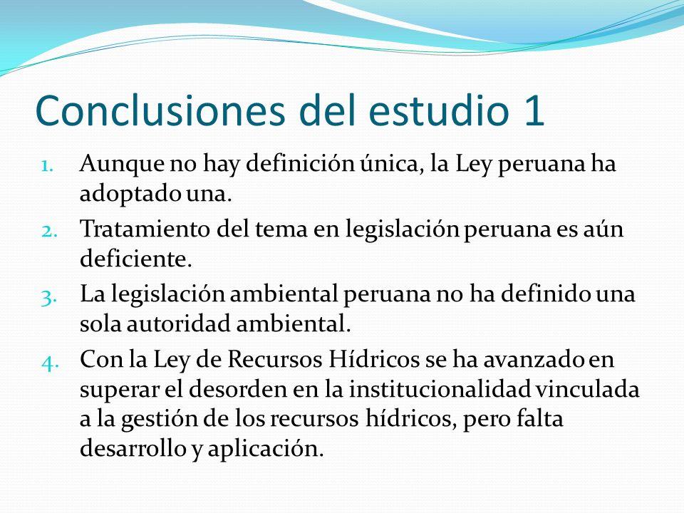 Conclusiones del estudio 1 1. Aunque no hay definición única, la Ley peruana ha adoptado una. 2. Tratamiento del tema en legislación peruana es aún de