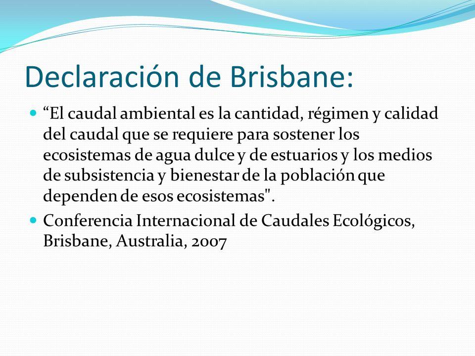 Declaración de Brisbane: El caudal ambiental es la cantidad, régimen y calidad del caudal que se requiere para sostener los ecosistemas de agua dulce