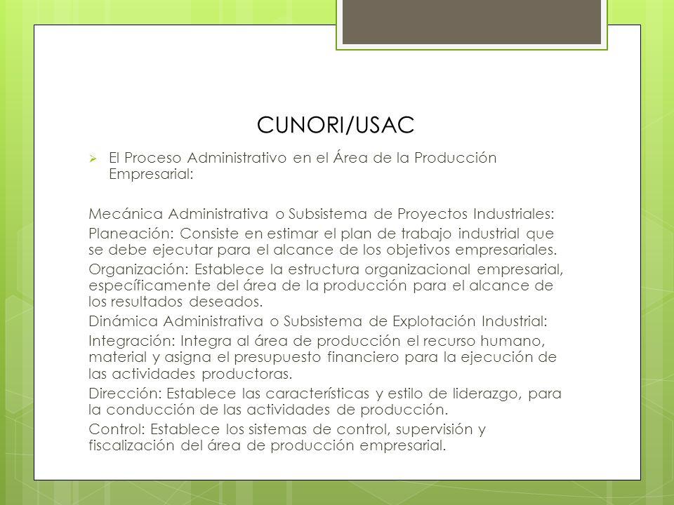 CUNORI/USAC Relación de la Empresa, con el Conjunto Ambiental externo, para el alcance de las actividades de producción y otras: Empresa: Proveedores.