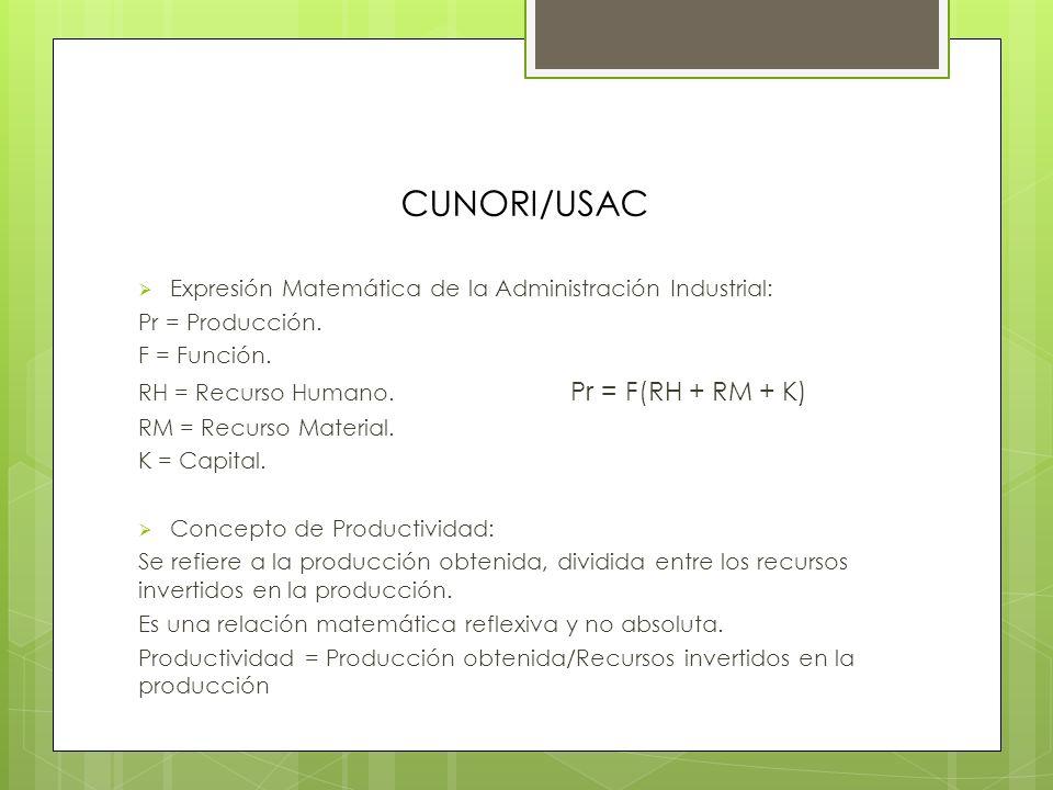 CUNORI/USAC Expresión Matemática de la Administración Industrial: Pr = Producción.