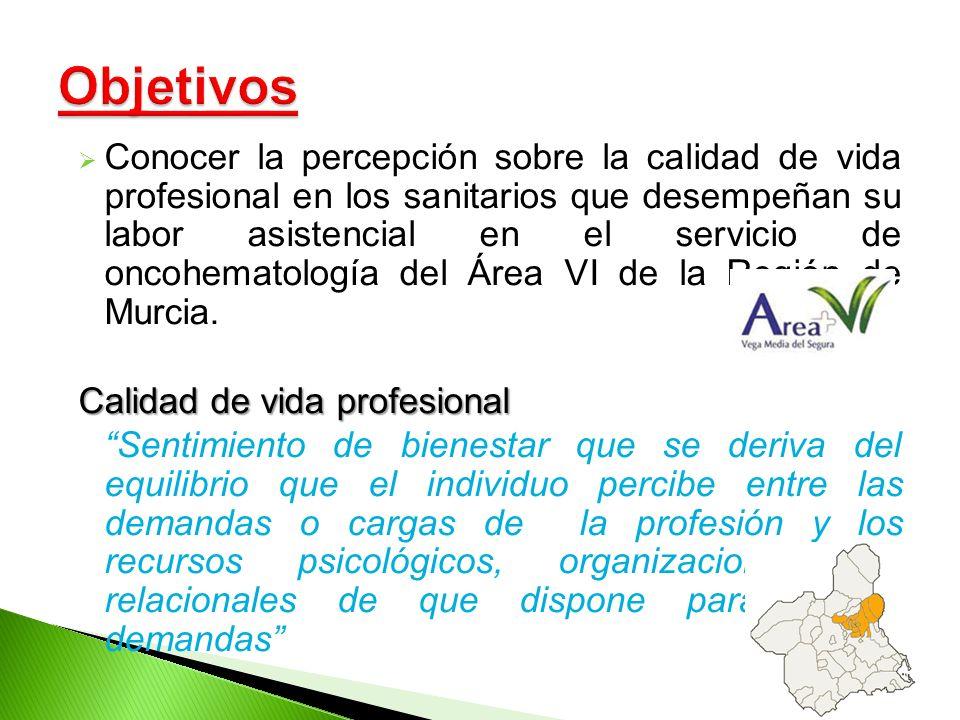Conocer la percepción sobre la calidad de vida profesional en los sanitarios que desempeñan su labor asistencial en el servicio de oncohematología del