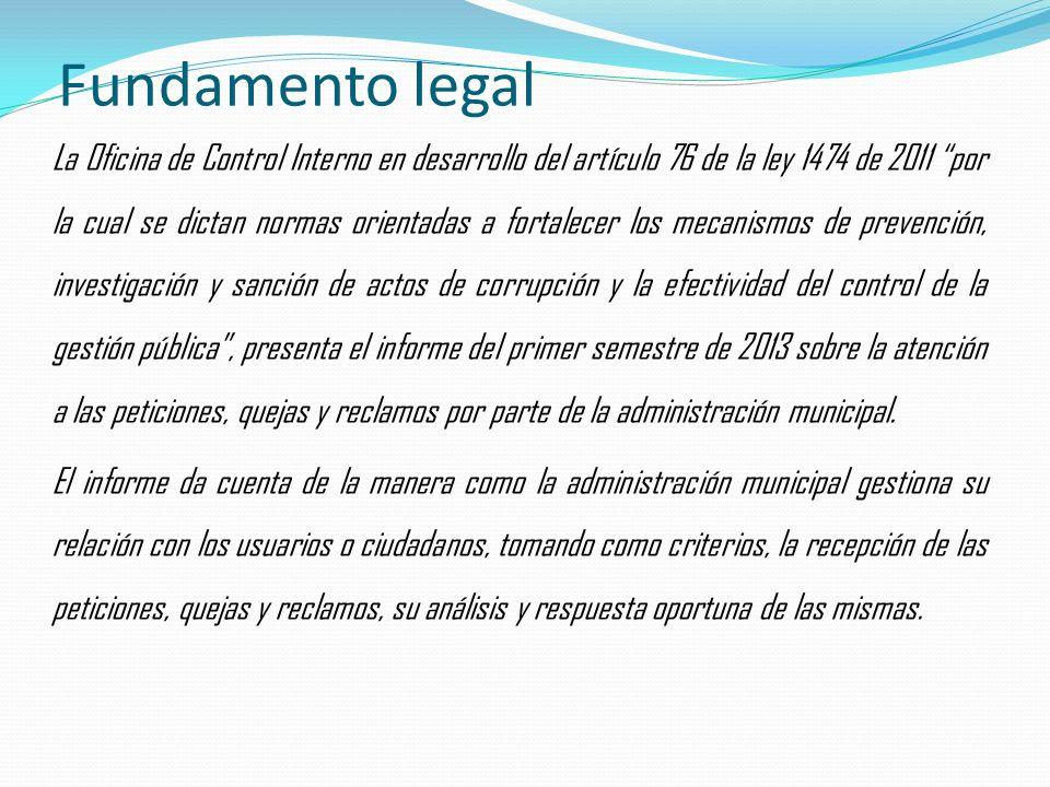 Fundamento legal La Oficina de Control Interno en desarrollo del artículo 76 de la ley 1474 de 2011 por la cual se dictan normas orientadas a fortalecer los mecanismos de prevención, investigación y sanción de actos de corrupción y la efectividad del control de la gestión pública, presenta el informe del primer semestre de 2013 sobre la atención a las peticiones, quejas y reclamos por parte de la administración municipal.