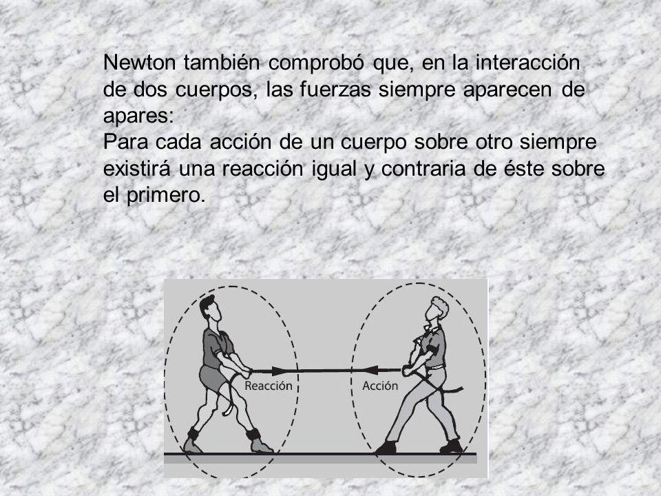De las observaciones de Newton se puede sintetizar el enunciado de la tercera ley, que se conoce como ACCIÓN Y REACCIÓN Cuando un cuerpo A ejerce una fuerza sobre un cuerpo B, éste reacciona sobre A con una fuerza de la misma magnitud, misma dirección y de sentido contrario