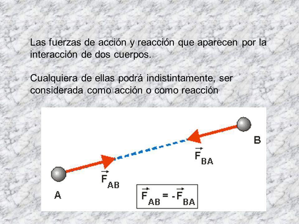 Las fuerzas de acción y reacción que aparecen por la interacción de dos cuerpos.