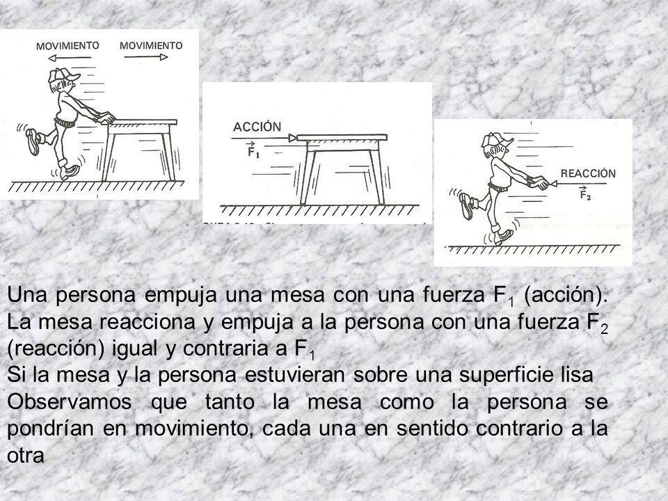 Una persona empuja una mesa con una fuerza F 1 (acción).