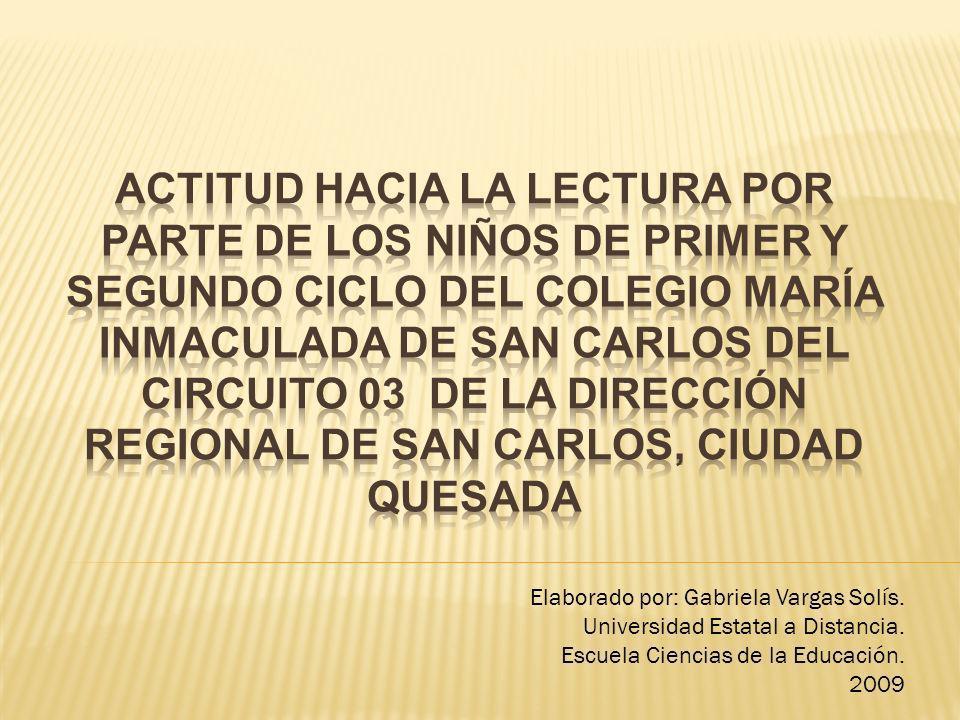 Elaborado por: Gabriela Vargas Solís. Universidad Estatal a Distancia. Escuela Ciencias de la Educación. 2009