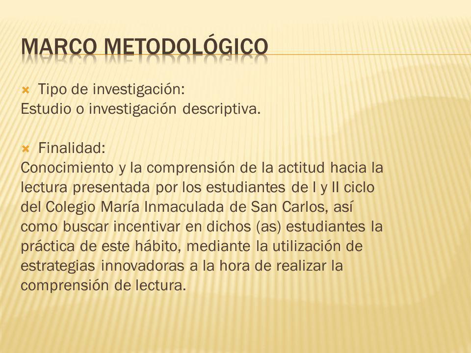 Tipo de investigación: Estudio o investigación descriptiva. Finalidad: Conocimiento y la comprensión de la actitud hacia la lectura presentada por los