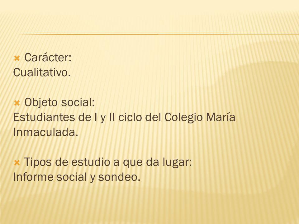 Carácter: Cualitativo. Objeto social: Estudiantes de I y II ciclo del Colegio María Inmaculada. Tipos de estudio a que da lugar: Informe social y sond