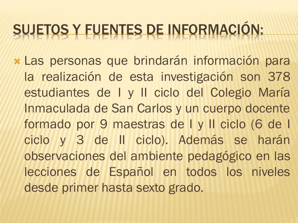 Las personas que brindarán información para la realización de esta investigación son 378 estudiantes de I y II ciclo del Colegio María Inmaculada de S
