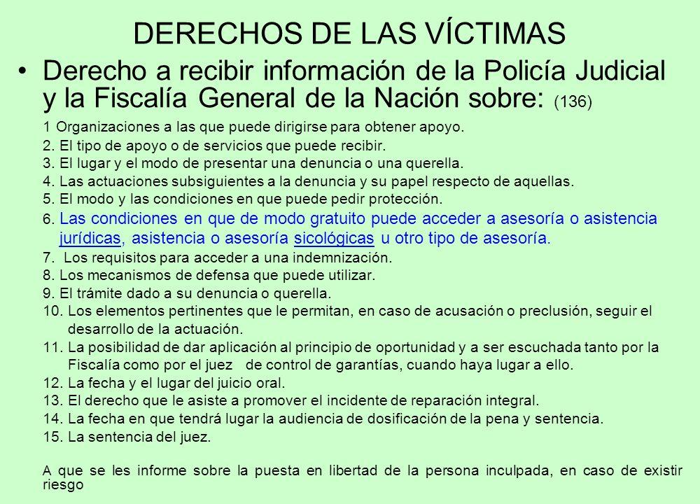 DERECHOS DE LAS VÍCTIMAS Derecho a recibir información de la Policía Judicial y la Fiscalía General de la Nación sobre: (136) 1 Organizaciones a las q