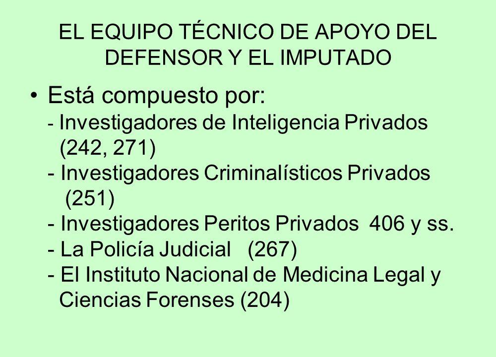 EL EQUIPO TÉCNICO DE APOYO DEL DEFENSOR Y EL IMPUTADO Está compuesto por: - Investigadores de Inteligencia Privados (242, 271) - Investigadores Criminalísticos Privados (251) - Investigadores Peritos Privados 406 y ss.
