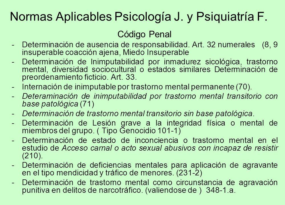Normas Aplicables Psicología J. y Psiquiatría F. Código Penal -Determinación de ausencia de responsabilidad. Art. 32 numerales (8, 9 insuperable coacc