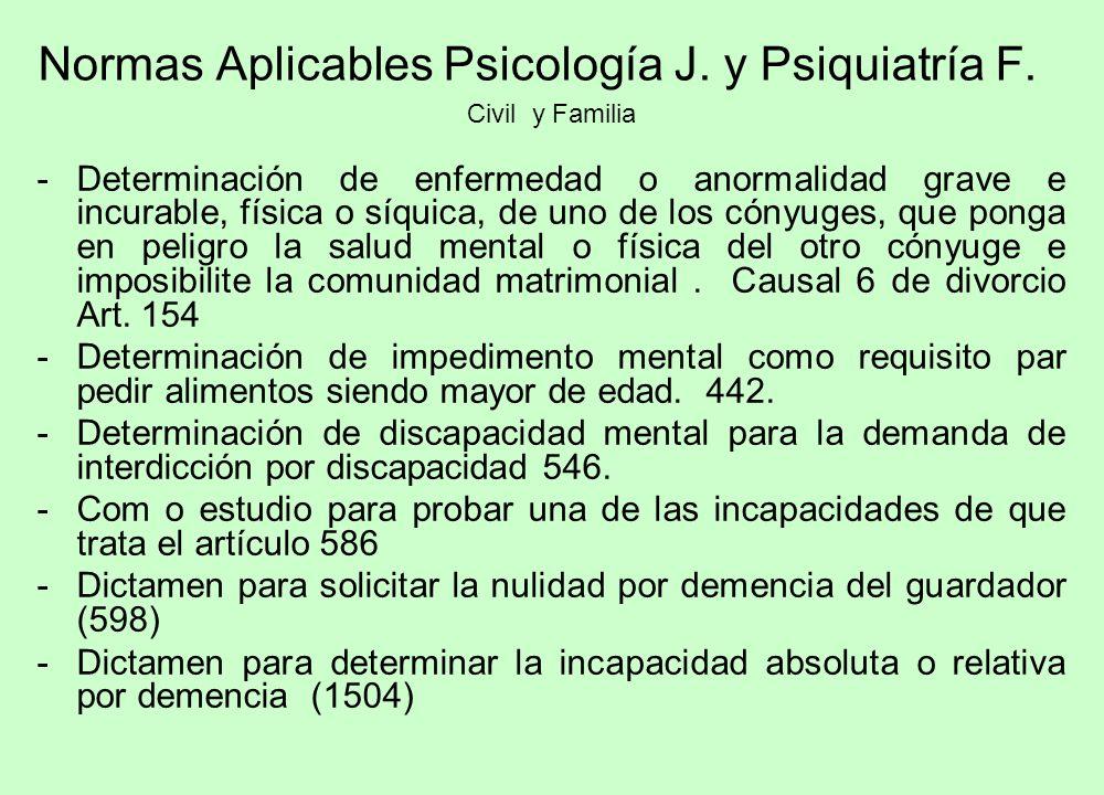 Normas Aplicables Psicología J. y Psiquiatría F. Civil y Familia -Determinación de enfermedad o anormalidad grave e incurable, física o síquica, de un